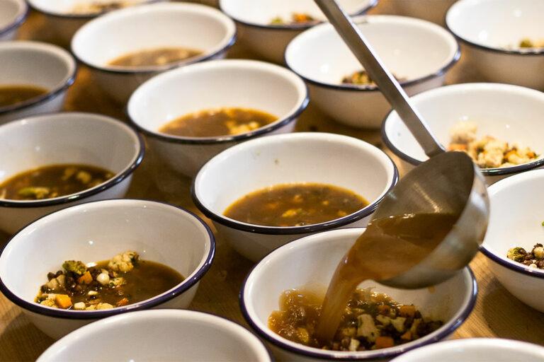 Purple Barley Soup in multiple bowls.