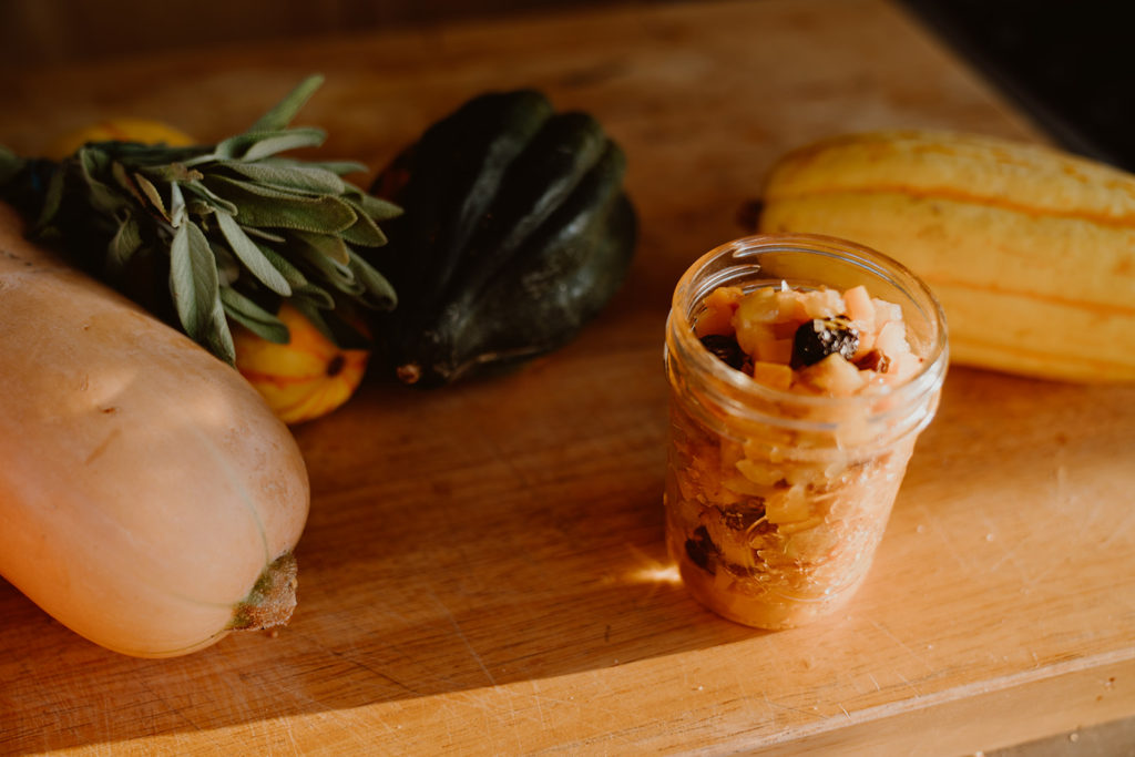 Winter Squash Mostarda in small mason jar.