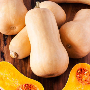Butternut squash with one cut open
