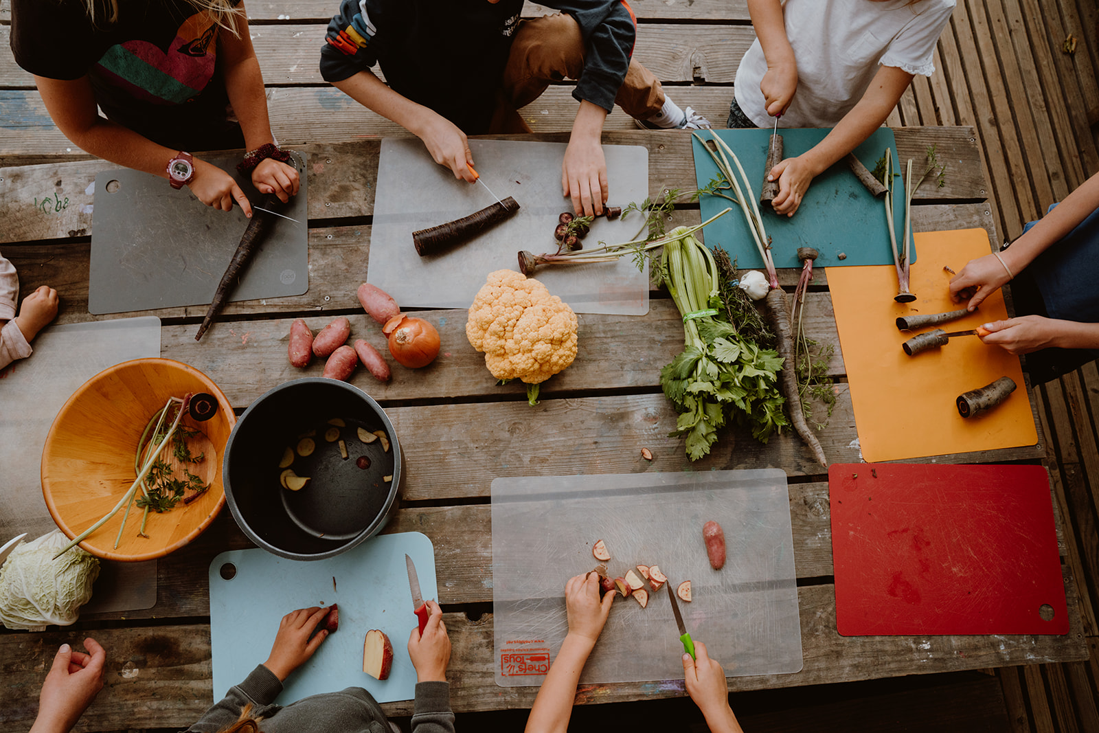 Top down shot of children gathered around table prepping food.
