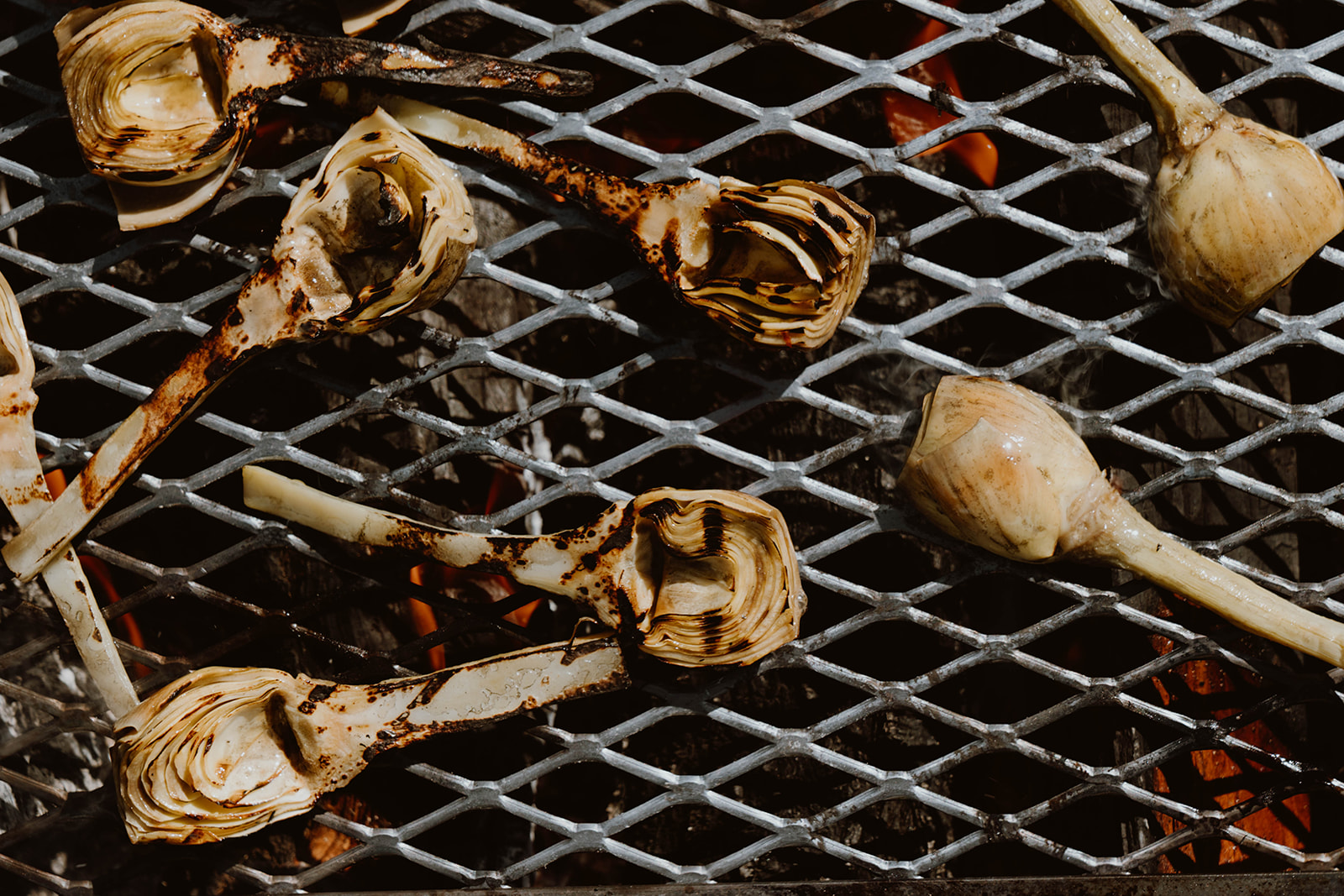 Onions on a grill over open flame.