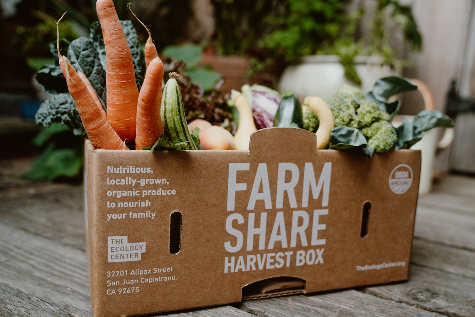 Harvest Box with organic fresh produce.
