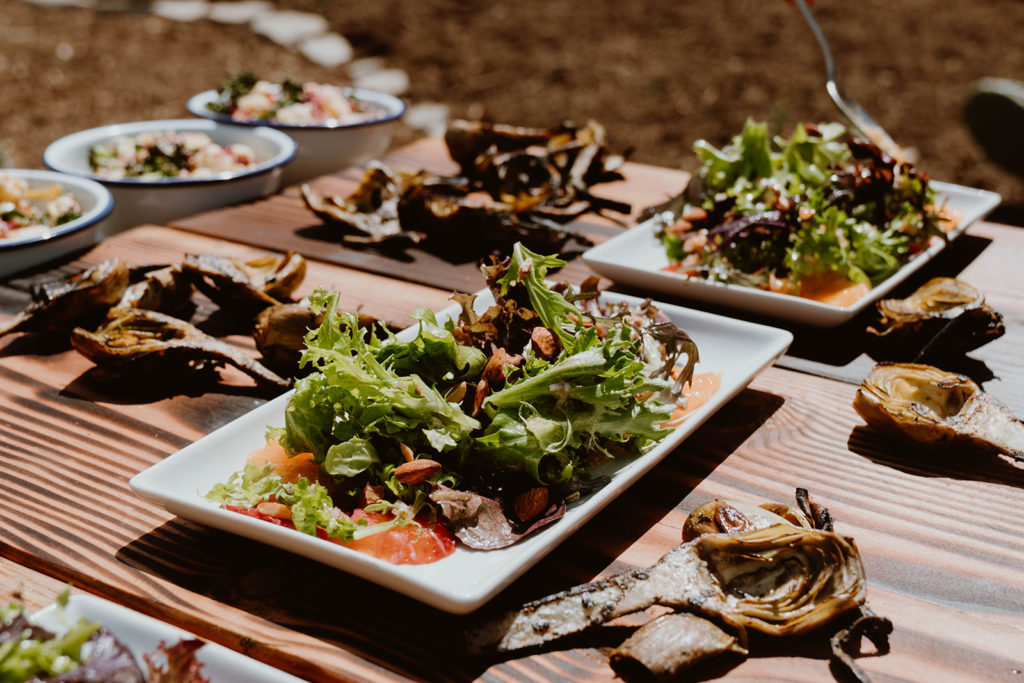 Plates of food.