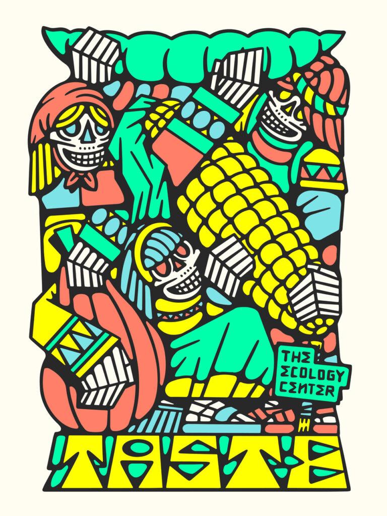 Artwork of DJ Javier depicting skeletons holding, corn, bean and squash.
