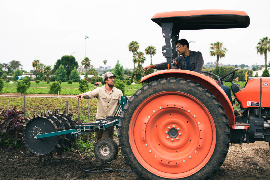 Farmers operating tractor.