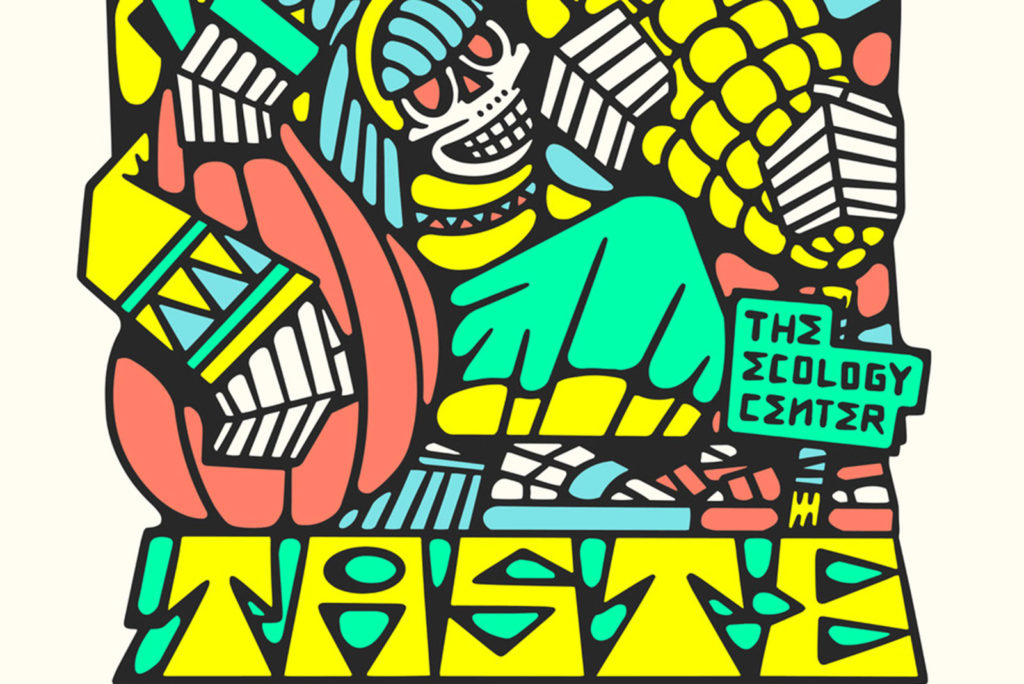 Artwork by DJ Javier or skeletons and squash and corn.