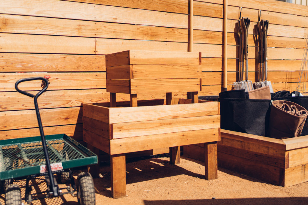 Raised beds made of wood.