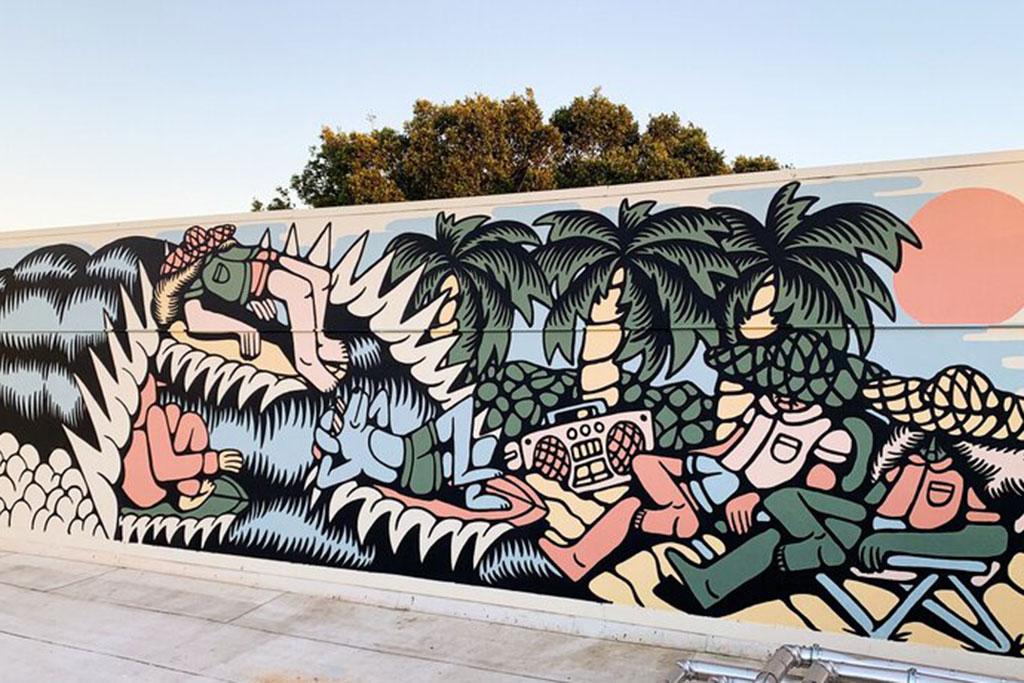 A mural of DJ Javier's art work.