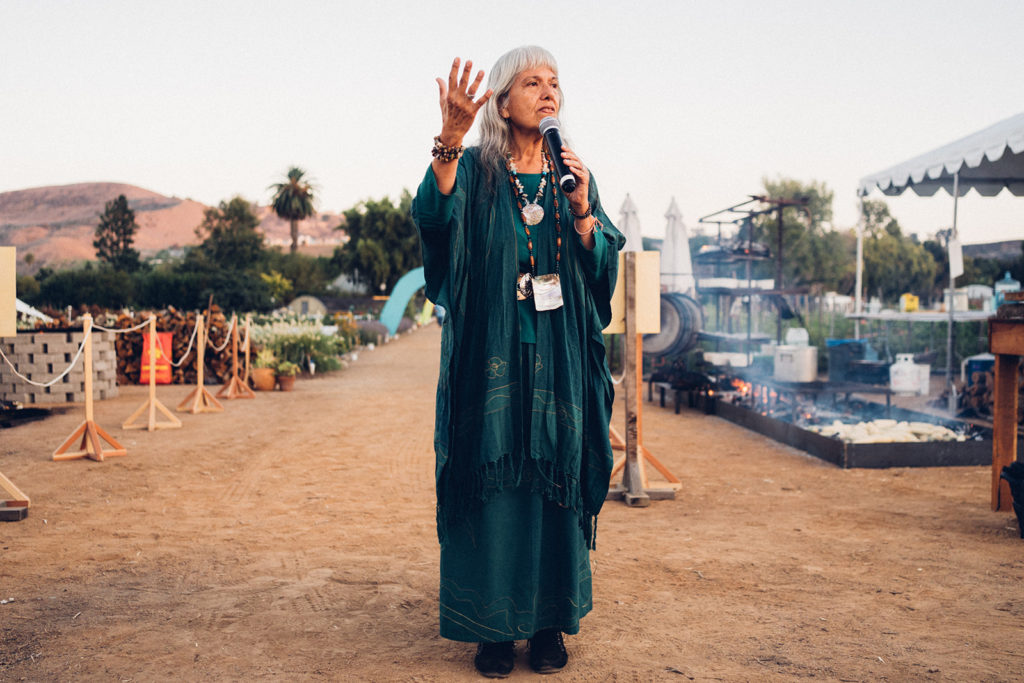 Acjachemen elder giving a speech to crowd.